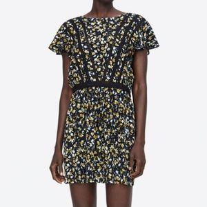 Zara Lace Insert Printed Dress